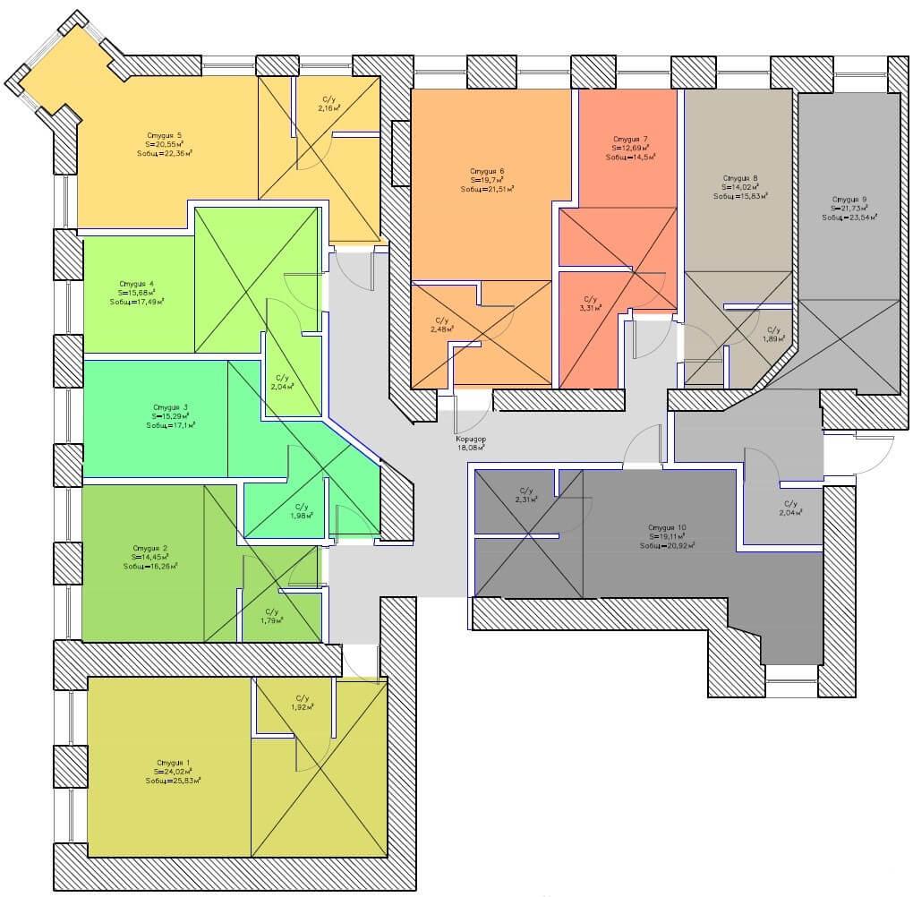 Планировки студий на Бронницкой 19