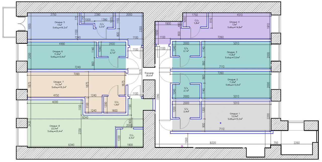 Планировки студий на улице Глинки 3-5-7 2-й этаж