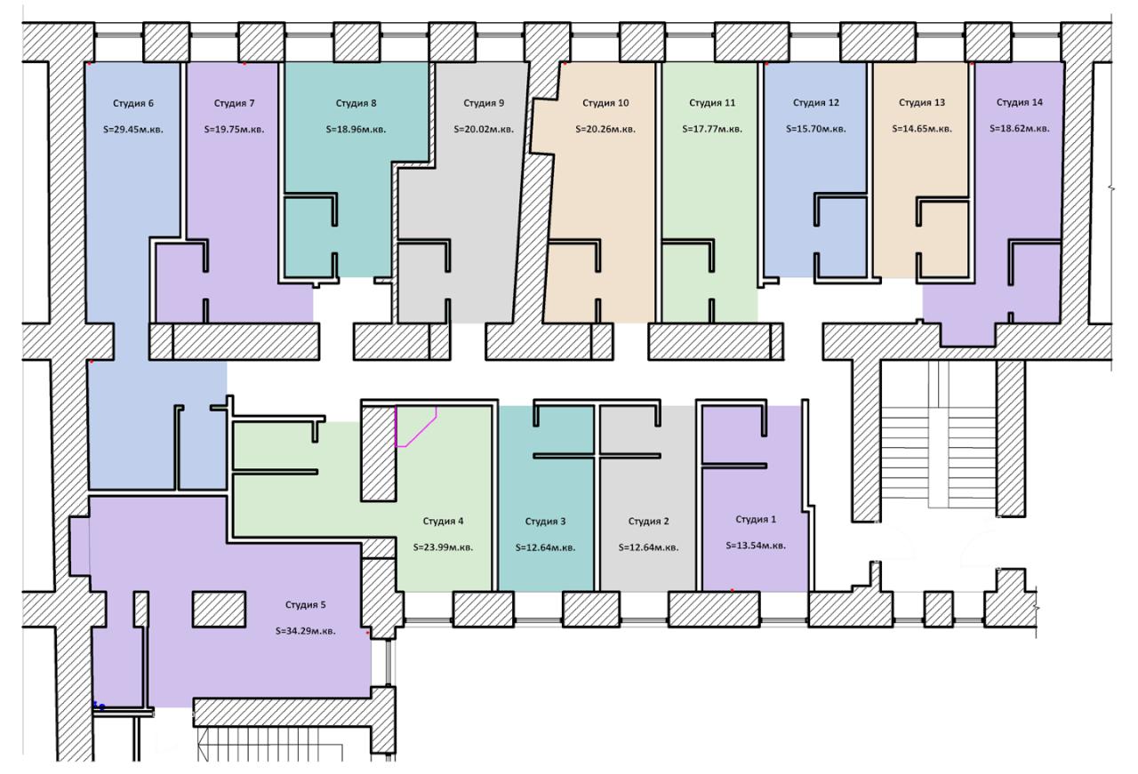 Планировки студий на улице глинки 3-5-7