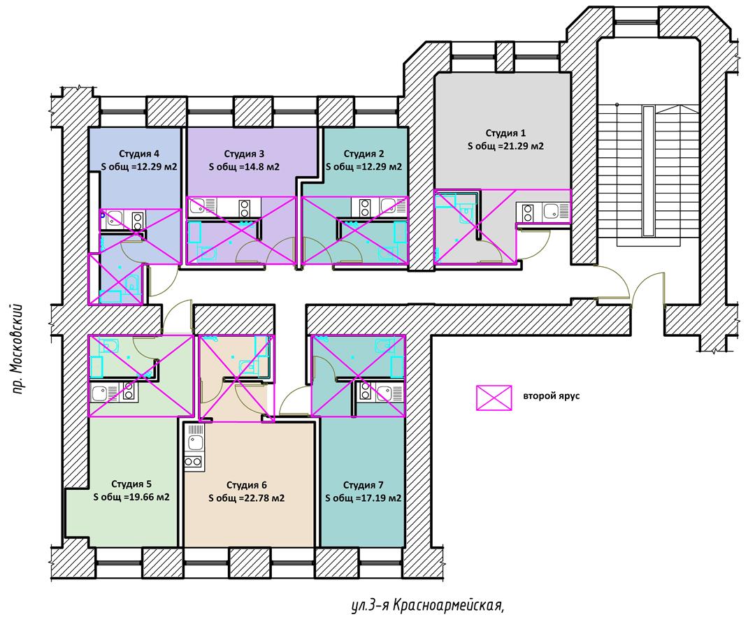 планировки квартир-студий на 3-й Красноармейской 2-19