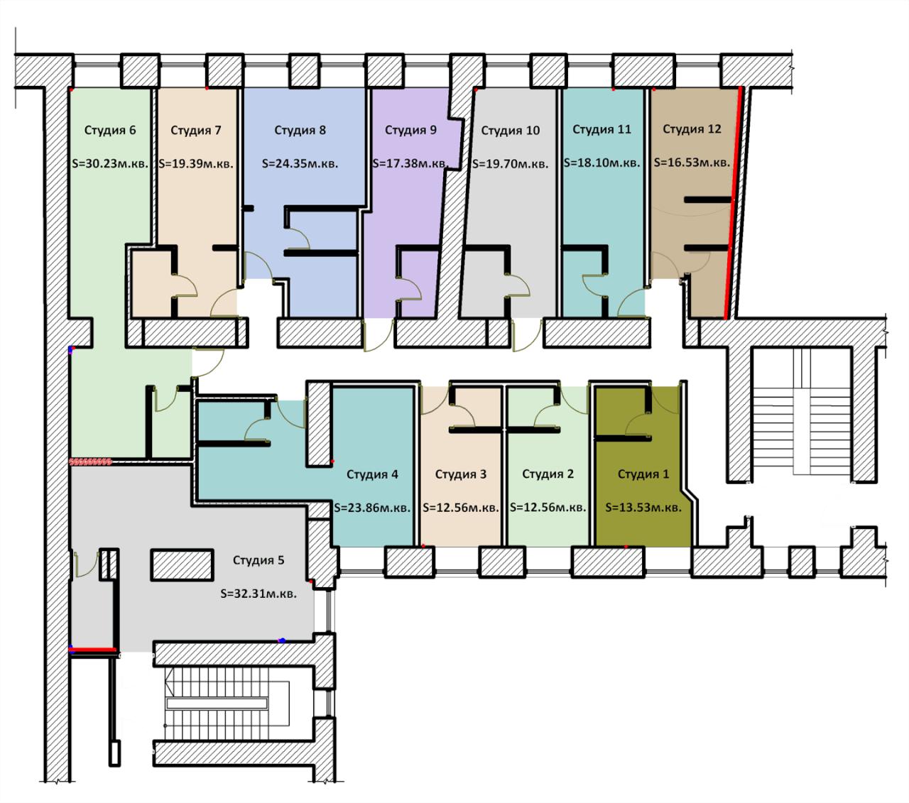 планировки-студий-на-улице-Глинка-3-5-7