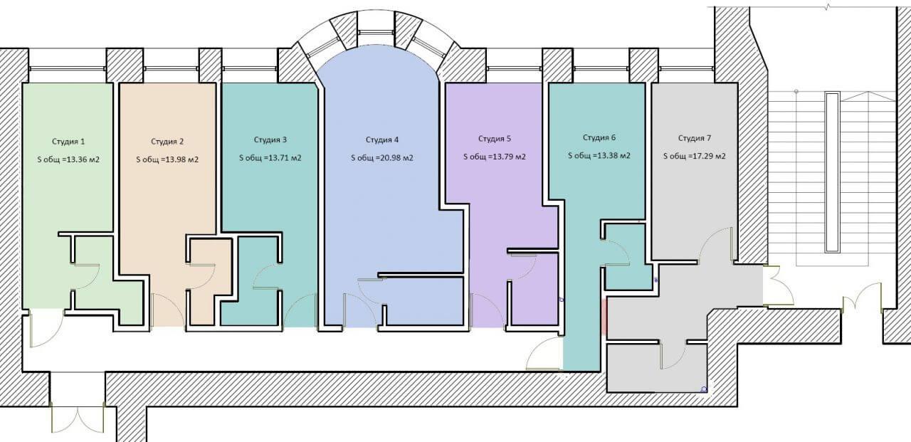 Планировки квартир-студий на Каменноостровском проспекте 57