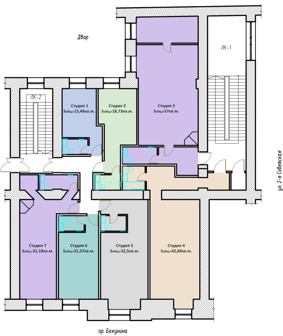 Планировки квартир-студий в центре на проспекте Бакунина 2