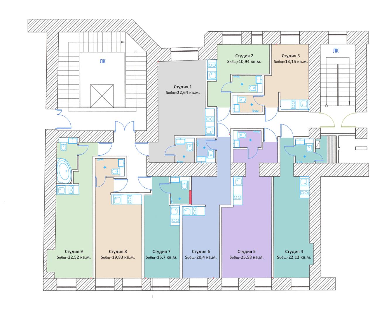 Планировки квартир-студий в центре на улице Можайская 37